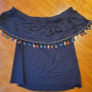 Kim & Cami top with tassels. Size Medium EUC